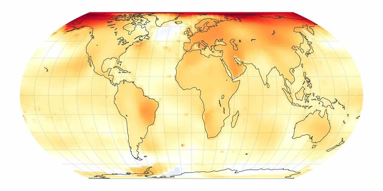 Mappa con le anomalie climatiche nel periodo 2014-2019