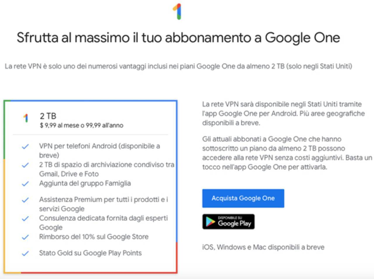 Google One, protezione online con VPN gratuita