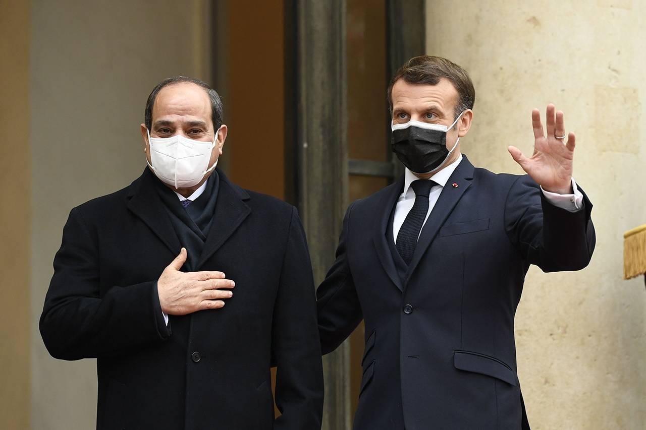 Abdel Fattah al-Sisi, presidente egiziano e Emmanuel Macron, presidente francese