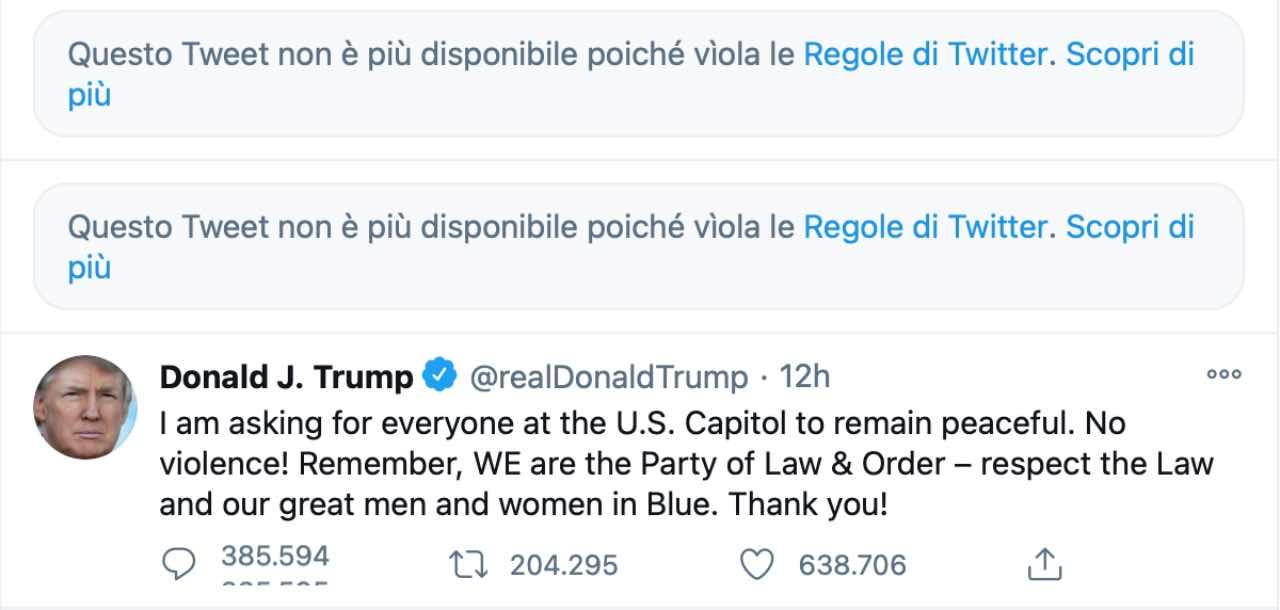 Facebook e Twitter bloccano Donald Trump