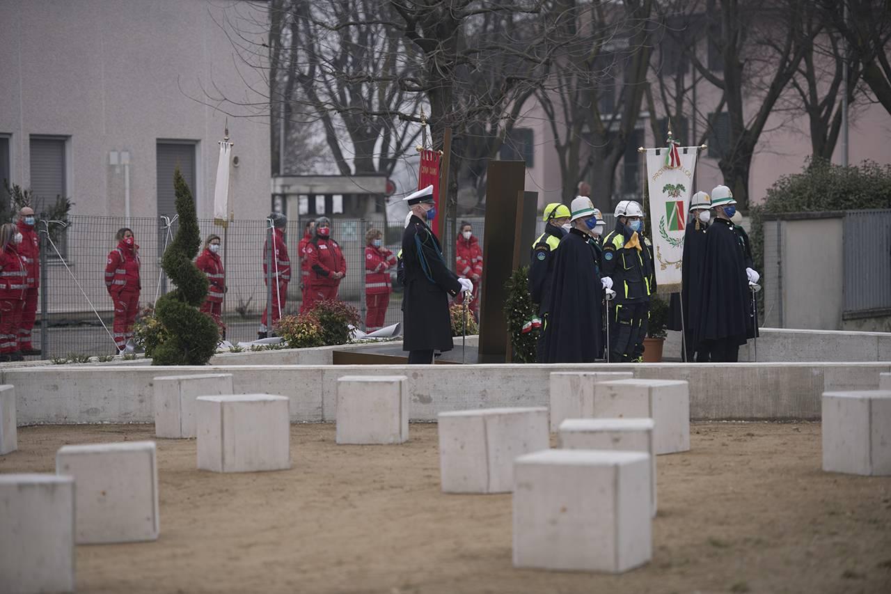 Memoriale inaugurato a Codogno per le vittime del Coronavirus, nell'anniversario di un anno dalla scoperta di quello che si pensava fosse il primo paziente risultato positivo al COVID-19 in Italia - Foto Getty Images