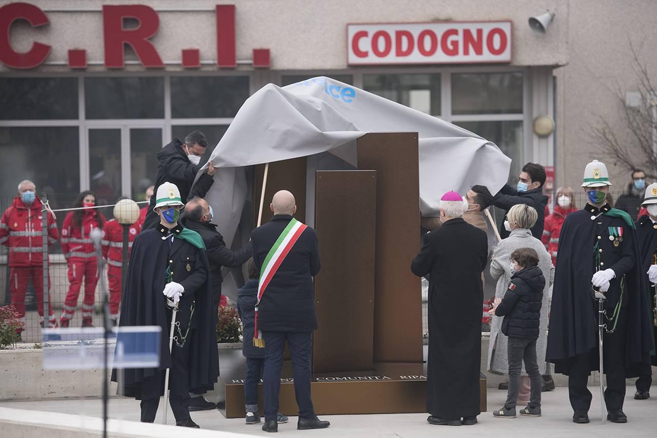 Memoriale per le vittime del Coronavirus, inaugurato a Codogno il 21 febbraio 2021 - Foto Getty Images