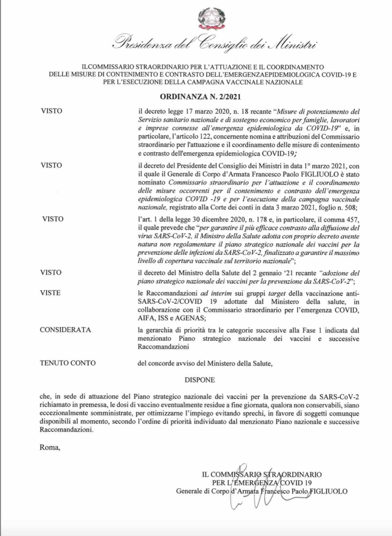 Covid, l'ordinanza firmata sulle vaccinazioni