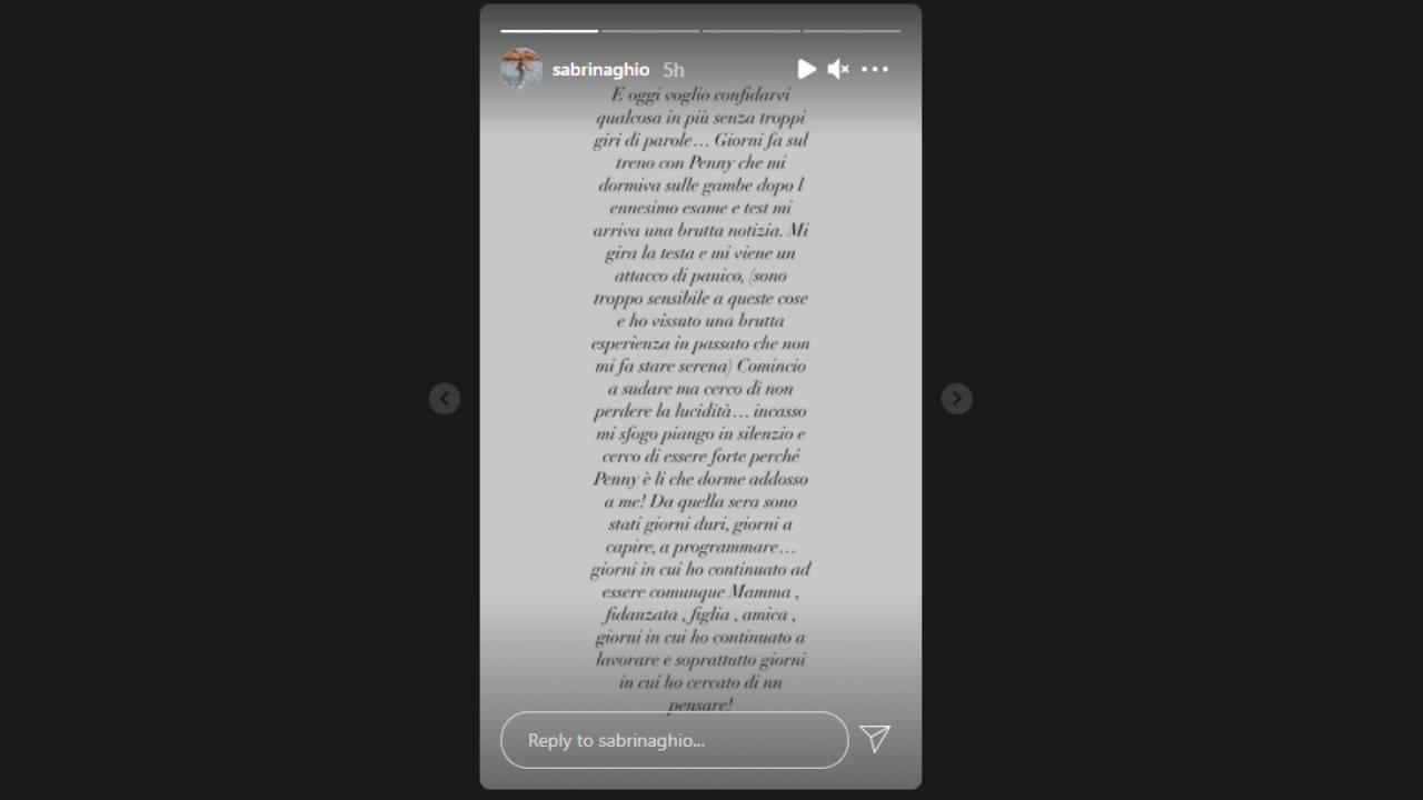 L'ex tronista e ballerina di Amici Sabrina Ghio (Storia Instagram).