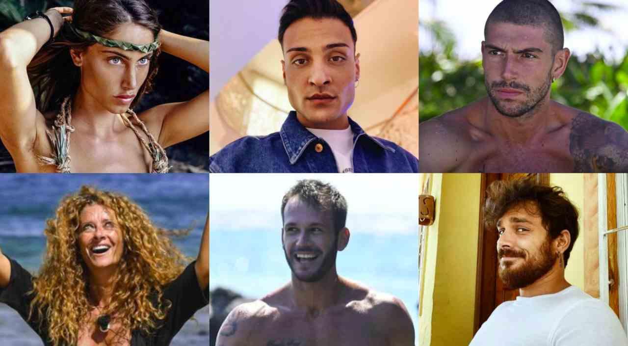 I finalisti dell'Isola dei Famosi: Beatrice, Awed, Ignazio, Valentina, Matteo e Andrea (foto © Mediaset).