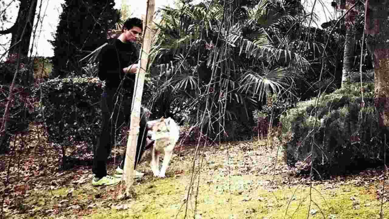 Gabriel Garko a spasso con il suo cane (foto Instagram).
