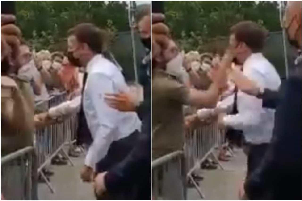 Il Presidente della Repubblica di Francia Emmanuel Macron viene preso a schiaffi (fermo immagine video Le Figaro).