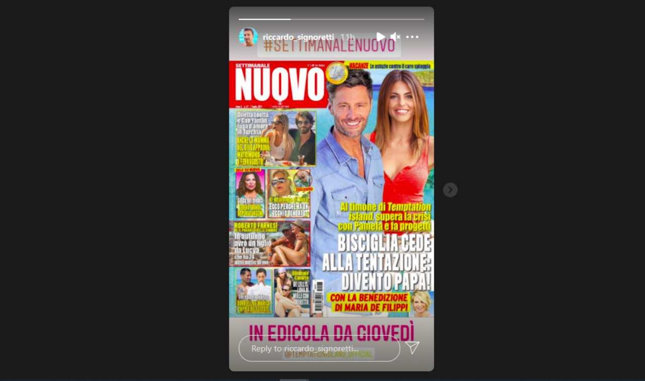 Il settimanale Nuovo di Riccardo Signoretti che mostra Tina Cipollari con l'occhio bendato (Storia Instagram).