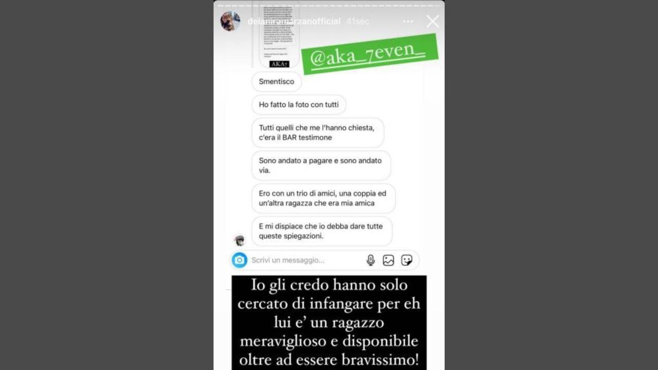 Il racconto di un fan di Aka7even a Deianira Marzano e la risposta del cantante di Amici (foto Instagram).