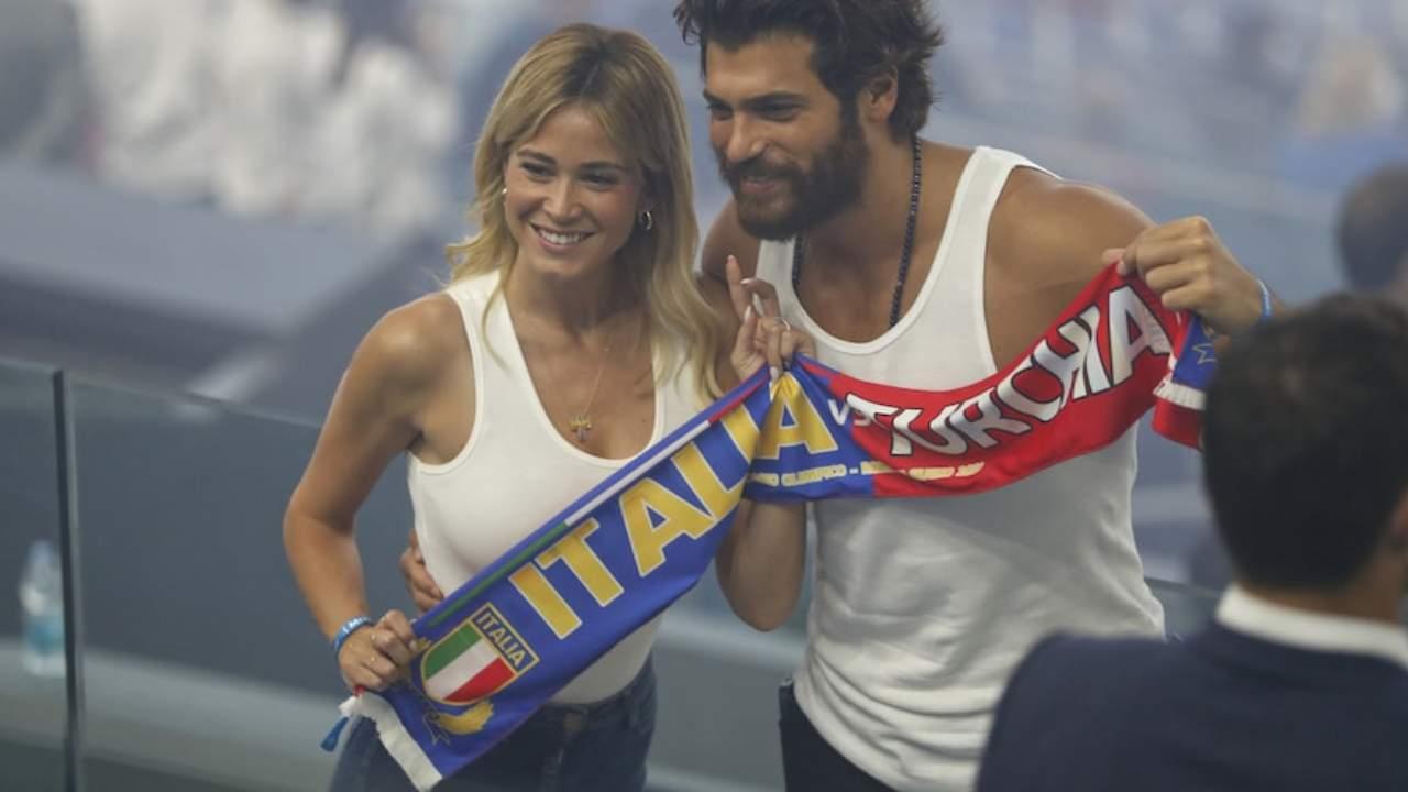 La coppia dell'estate: Can Yaman e Diletta Leotta guardano allo stadio la partita Italia-Turchia: si sono lasciati? (foto Ansa).
