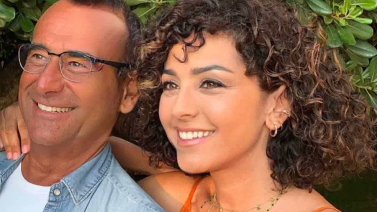 Il conduttore di Tale e Quale Show, Carlo Conti, con la moglie Francesca Vaccaro (foto Instagram).