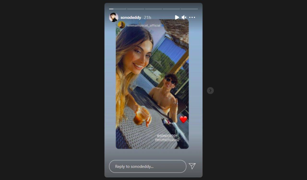 Il cantante di Amici Deddy con Emma Muscat (foto Instagram).