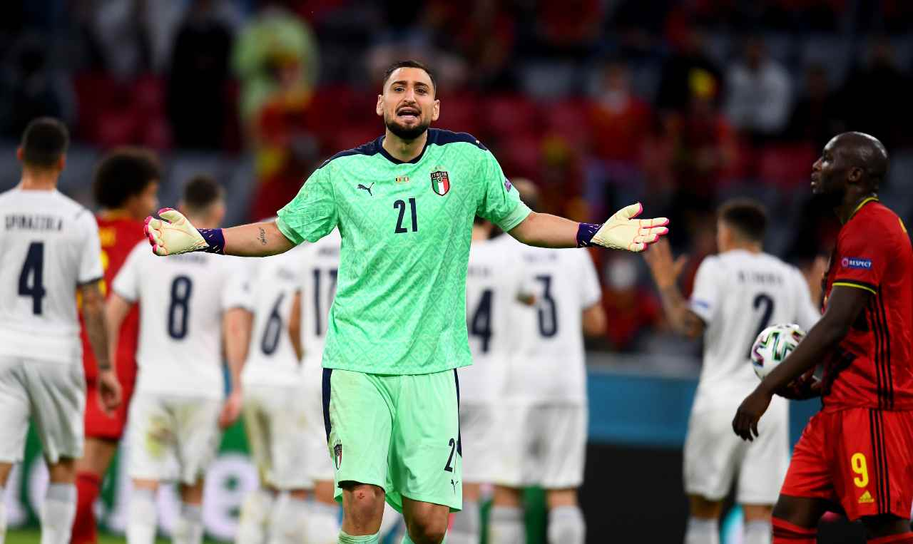 Il portiere Donnarumma durante la partita Belgio-Italia. Euro 2020, 2 luglio 2021 (foto di Claudio Villa/Getty Images).