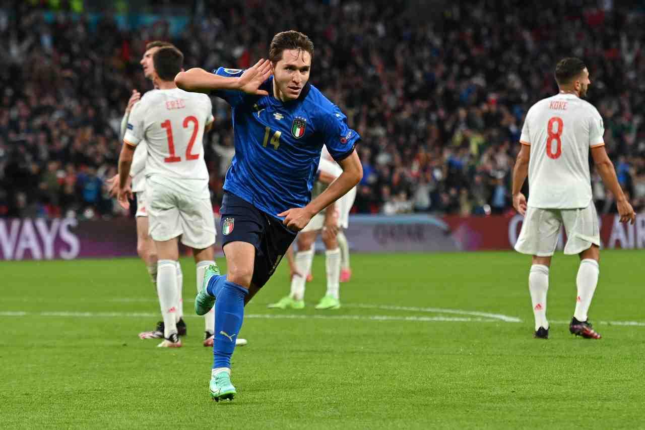 Euro 2020, Italia-Spagna: Federico Chiesa festeggia il suo gol. Wembley, 6 luglio 2021 (foto di Justin Tallis - Pool/Getty Images).