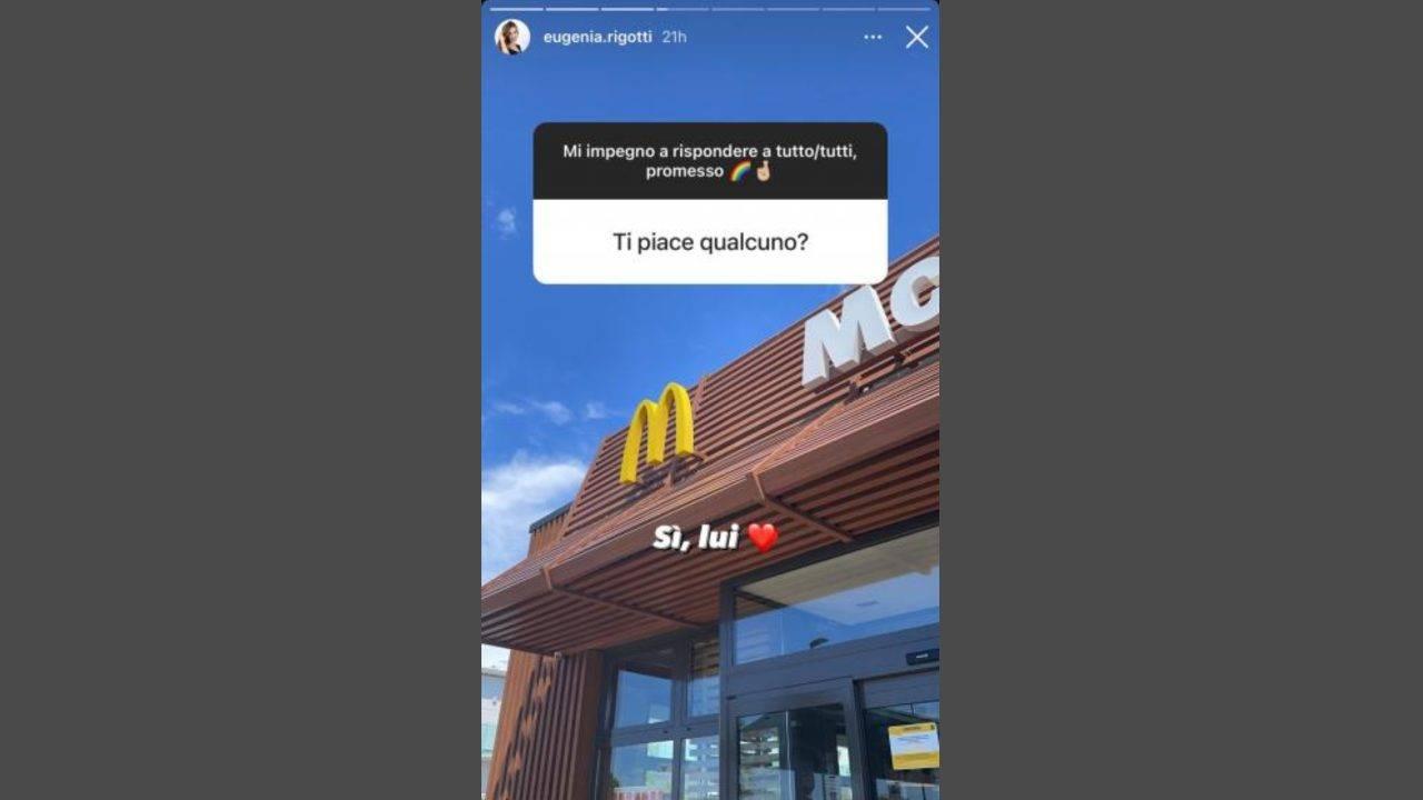 Uomini e Donne, Eugenia Rigotti risponde alle domande su Massimiliano Mollicone (Storie Instagram).