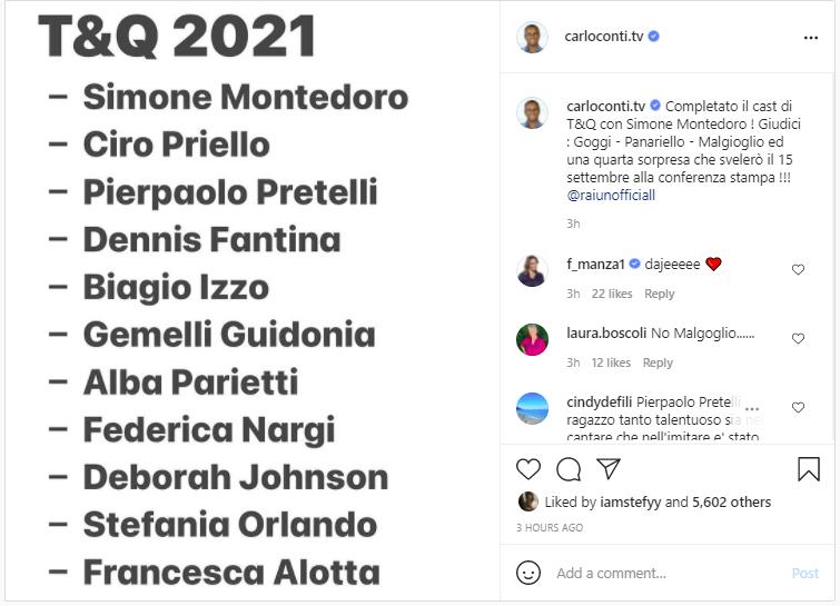 Ecco il cast della nuova edizione di Tale e Quale Show annunciato da Carlo Conti (foto Instagram).