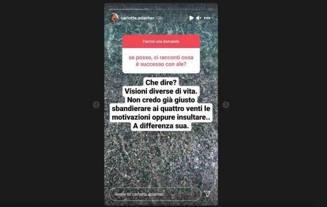 Temptation Island, la tentatrice Calrotta Adacher parla della sua relazione con Alessandro Autera (fonte: Instagram).