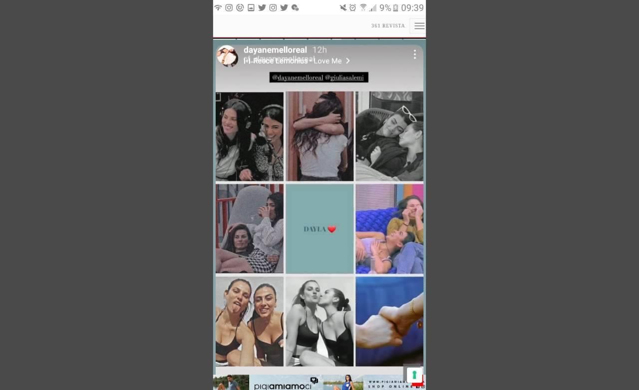 """La Storia pubblicata su Instagram da Dayane Mello, che chiama """"Dayla"""" l'unione fra lei e Giulia Salemi, conosciuta al GF Vip."""