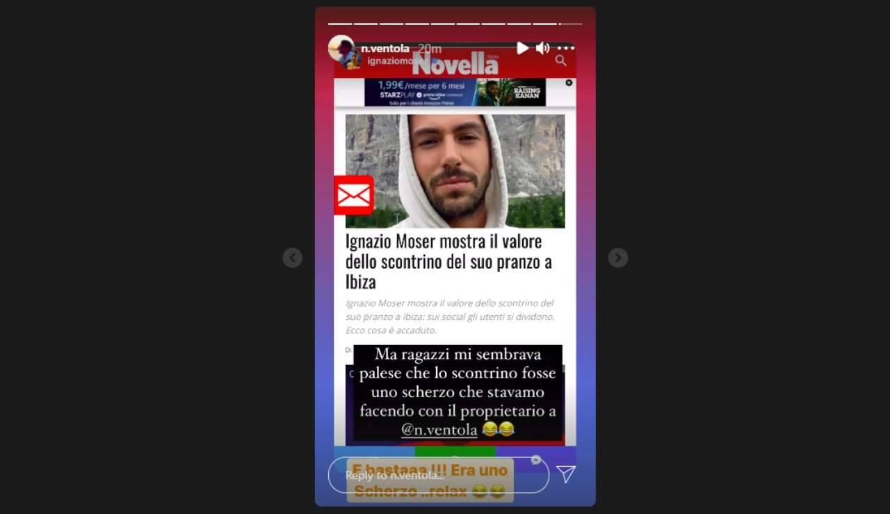 Era tutto uno scherzo: Ignazio Moser spiega cosa è successo con Nichi Vendola (Storie Instagram).