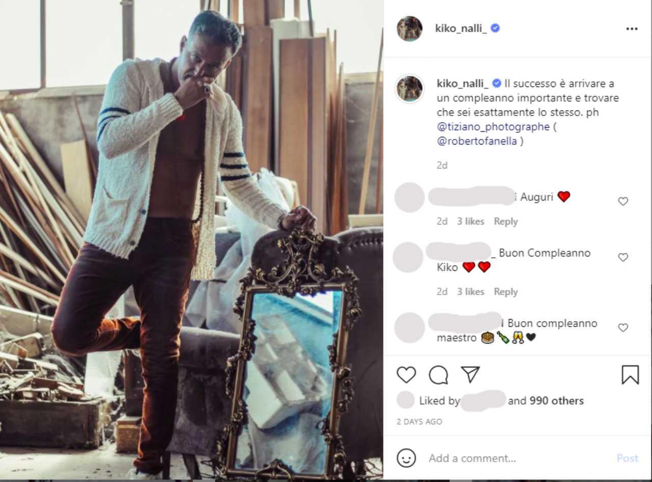 Il messaggio di Kikò Nalli, ex marito di Tina Cipollari, su Instagram.