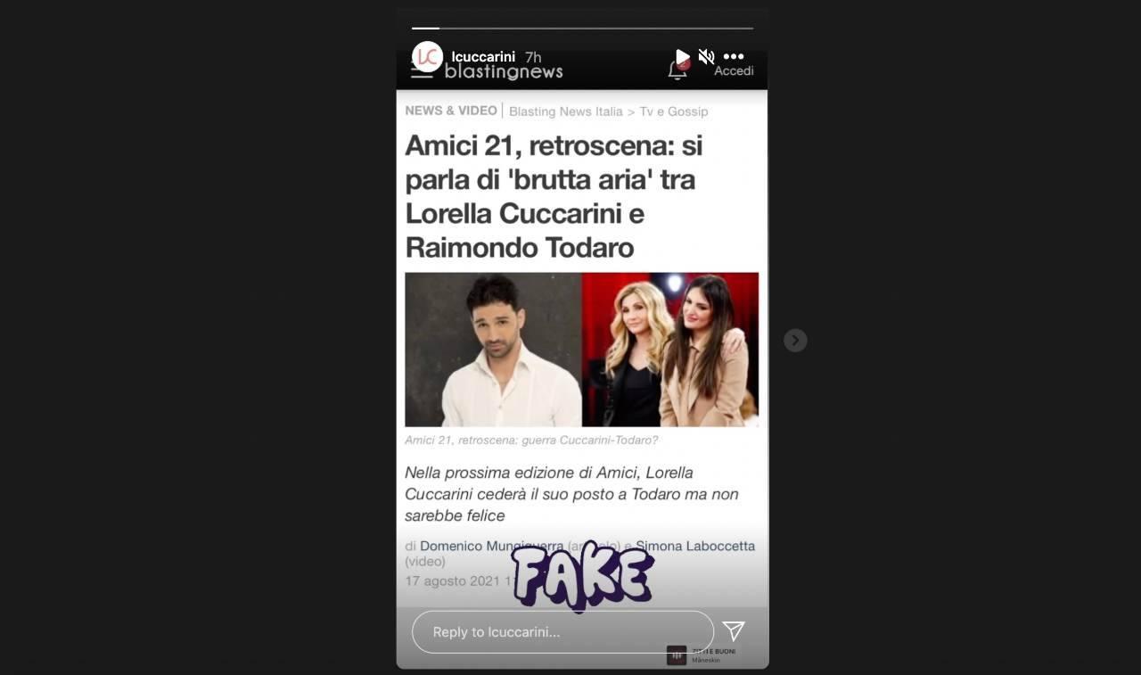 La smentita di Lorella Cuccarini su Instagram.