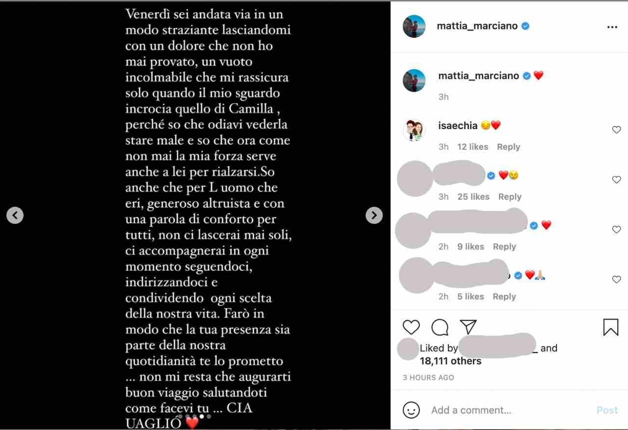 Lo struggente messaggio di Mattia Marciano, ex tronista e corteggiatore di Uomini e Donne, per il suo defunto suocero (foto Instagram).