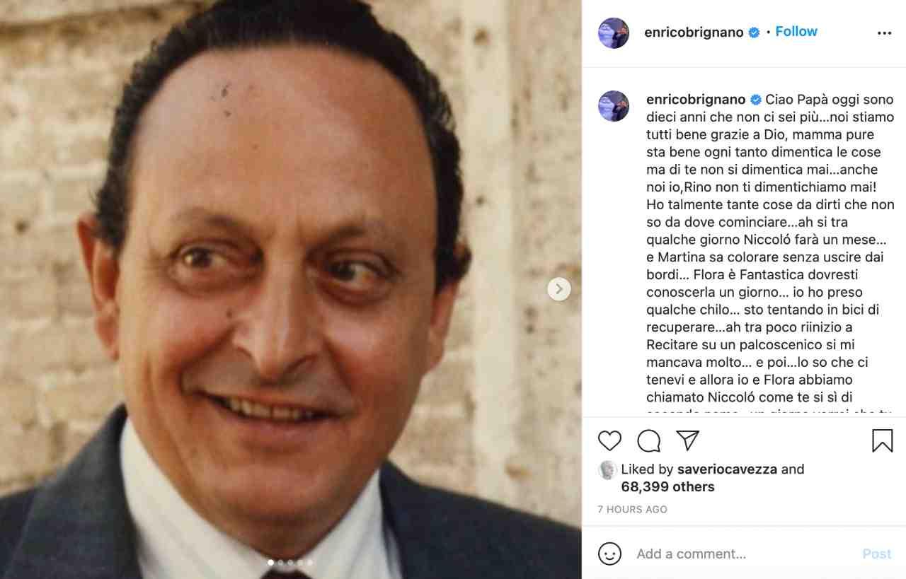 Il commovente messaggio di Enrico Brignano per il padre, morto dieci anni fa (fonte: Instagram).