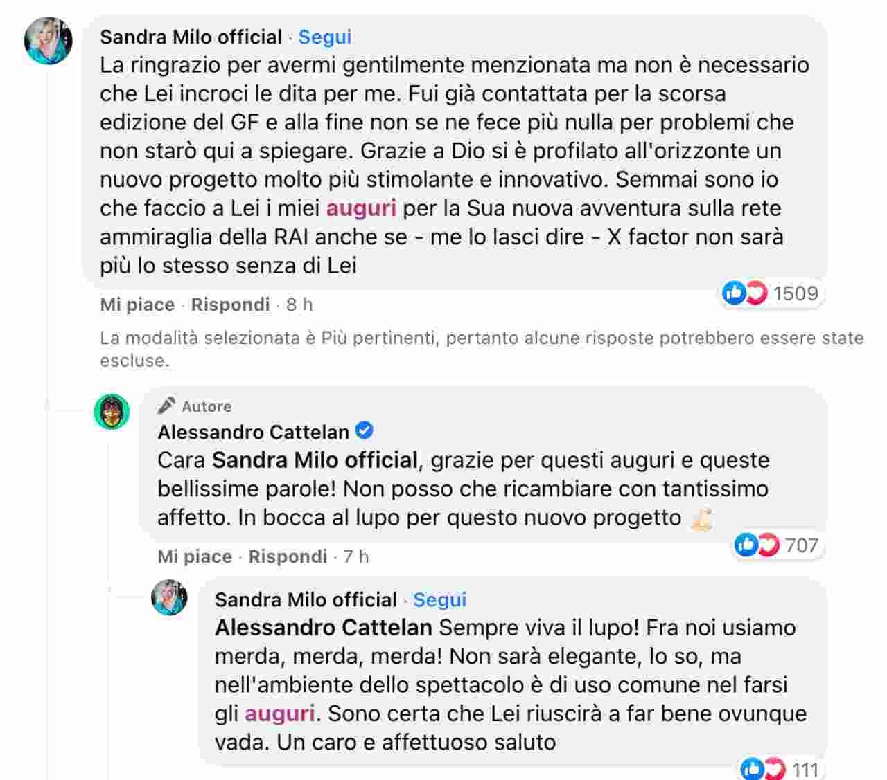 Il botta e risposta di Sandra Milo e Alessandro Cattelan su Facebook.