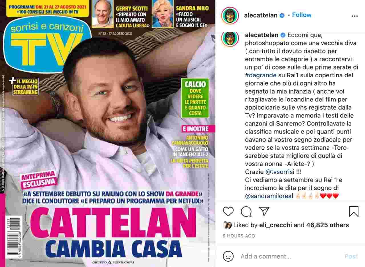La copertina di Sorrisi e Canzoni Tv con Alessandro Cattelan ed il commento alla foto dello stesso presentatore.