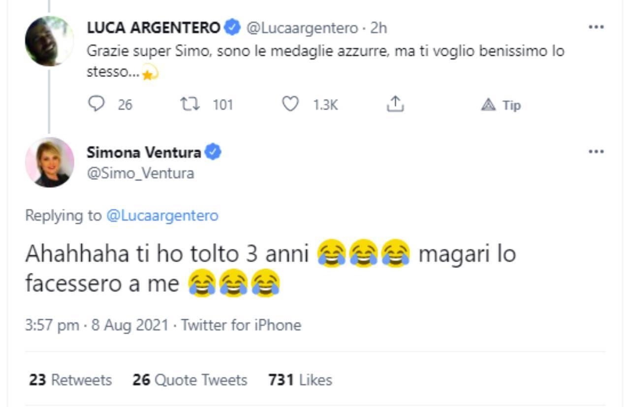Il botta e risposta fra Luca Argentero e Simona Ventura su Twitter in occasione delle 40 medaglie olimpioniche dell'Italia.