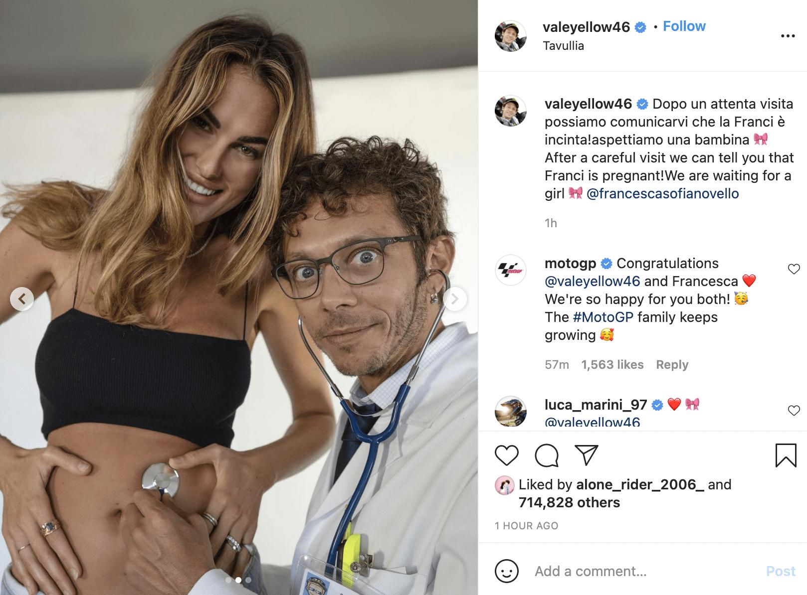 Il messaggio di Valentino Rossi con cui ha annunciato che diventerà papà (fonte: Instagram).