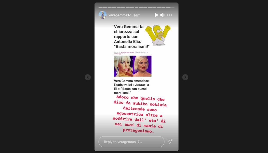 L'ammissione di Vera Gemma su Instagram.