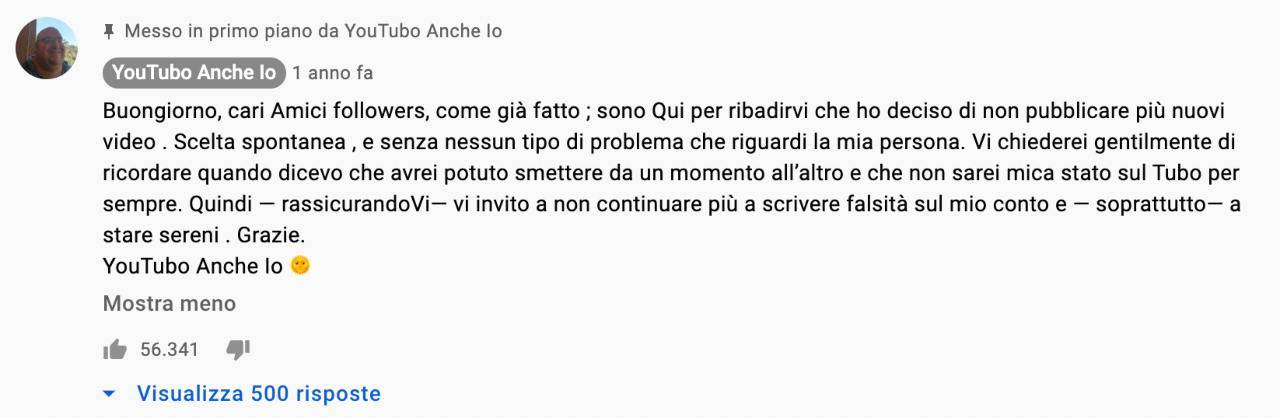 Il messaggio di addio dello YouTuber YouTubo Anche Io, cioè Omar Palermo.
