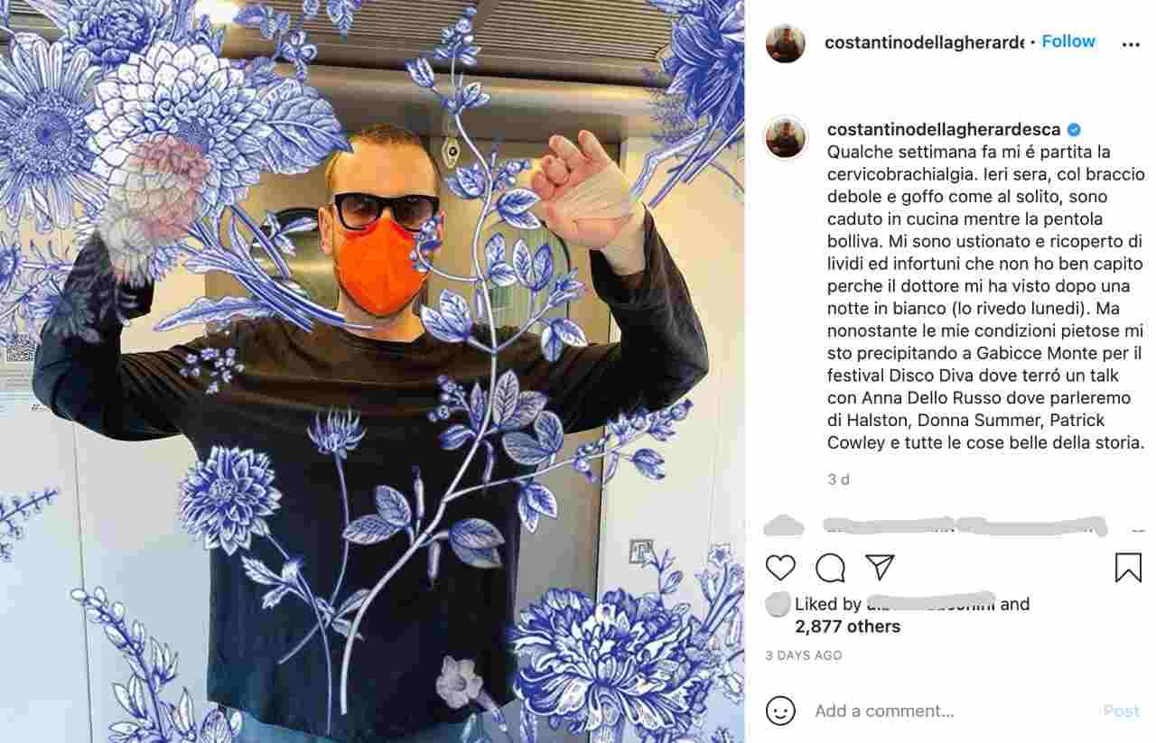 L'incidente casalingo: Costantino Della Gherardesca spiega di essersi ustionato ad entrambe le braccia, sarà in grado di condurre il suo nuovo programma (fonte: instagram).