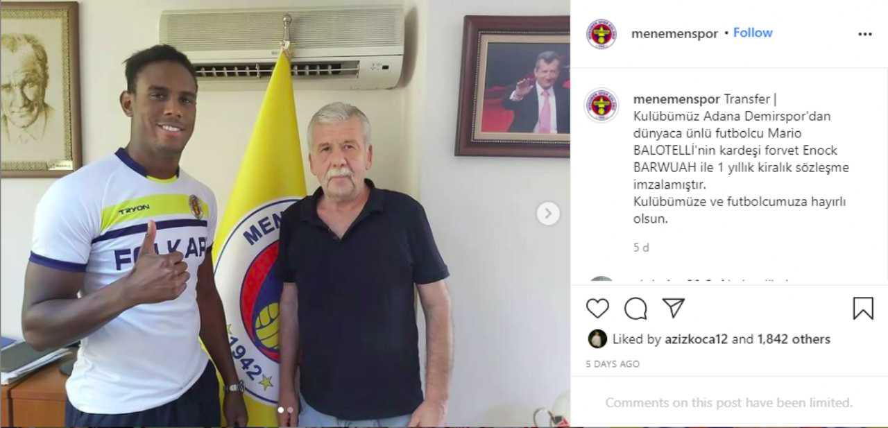 Turchia, il Menemenspor dà il benvenuto in squadra ad Enock Barwuah, fratello di Mario Balotelli (foto Instagram).