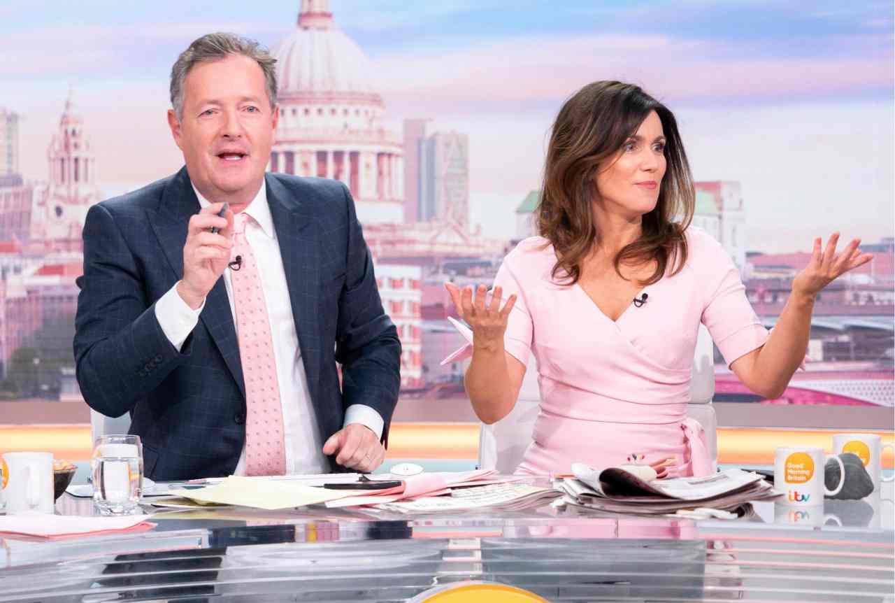 """La trasmissione inglese """"Good morning Britain"""" ed il conduttore licenziato, Piers Morgan (foto Twitter)."""