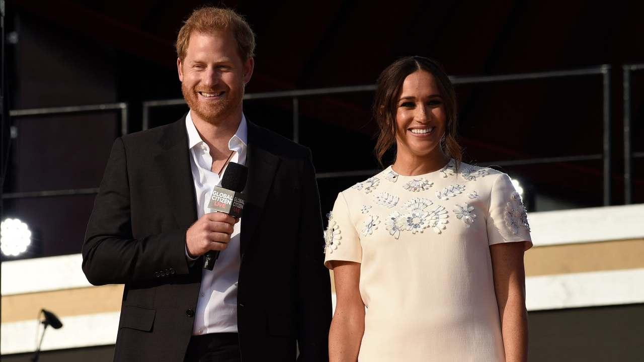 Il palco del festival ambientalista Global Citizen Live a New York, dove Harry e Meghan sono stati ospiti (foto Getty Images).