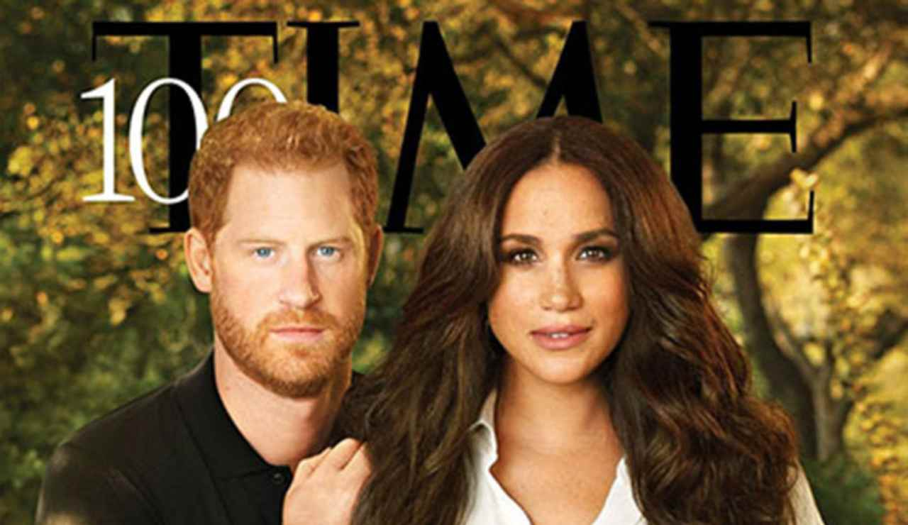 La copertina del Time, con Harry e Meghan come protagonisti (foto Pari Dukovic).