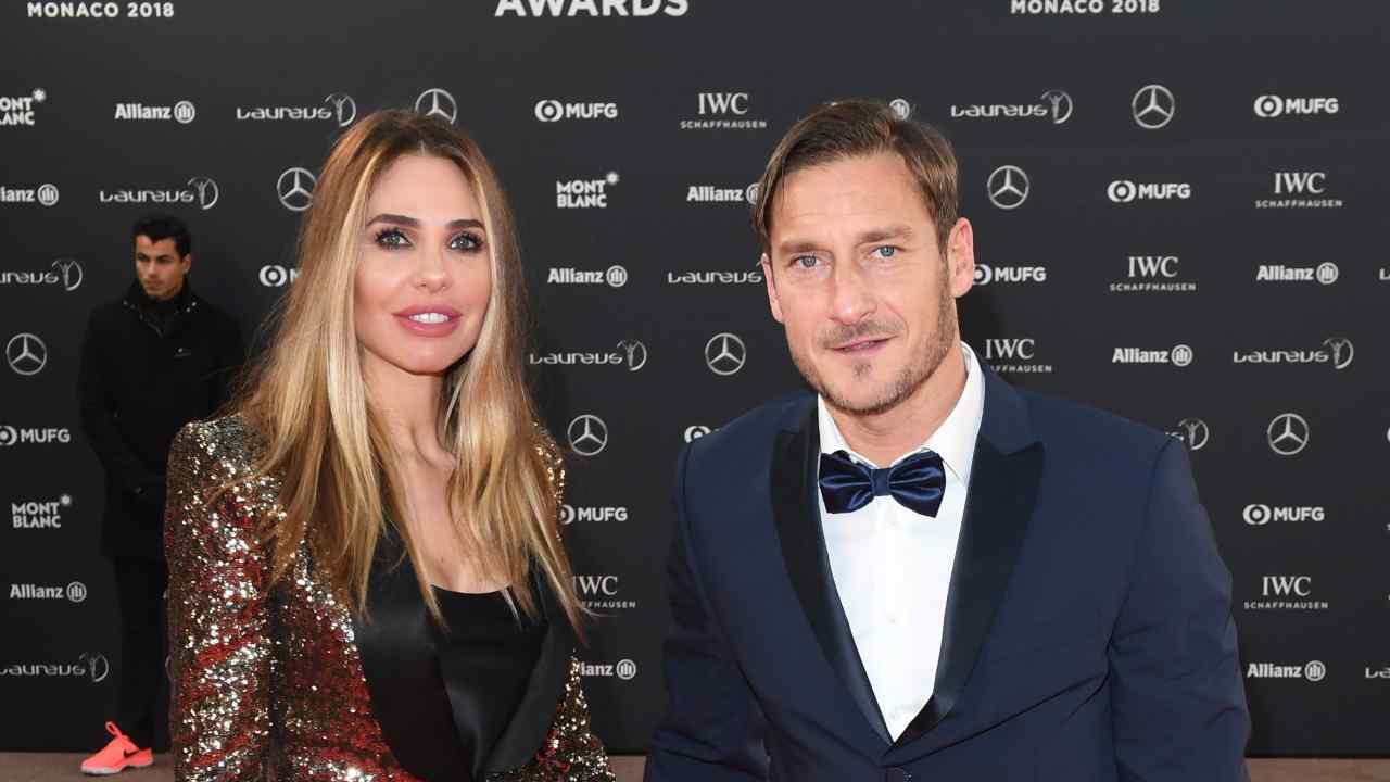 Francesco Totti e Ilary Blasi al World Sports Awards di Monaco, anno 2018 (foto Stuart C. Wilson/Getty Images for Laureus).