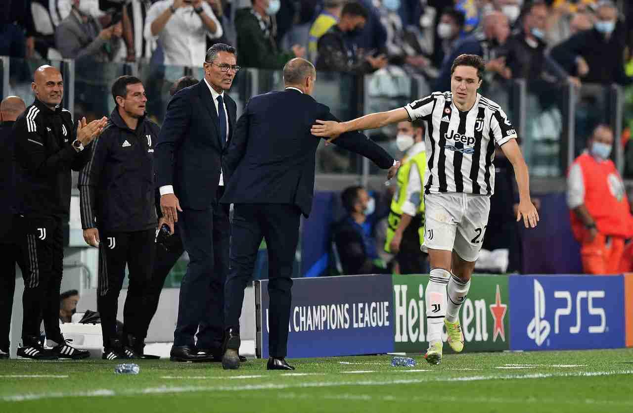 Champions League, Federico Chiesa festeggia la sua rete in Juventus-Chelsea, 29 settembre 2021 (foto di Valerio Pennicino/Getty Images).