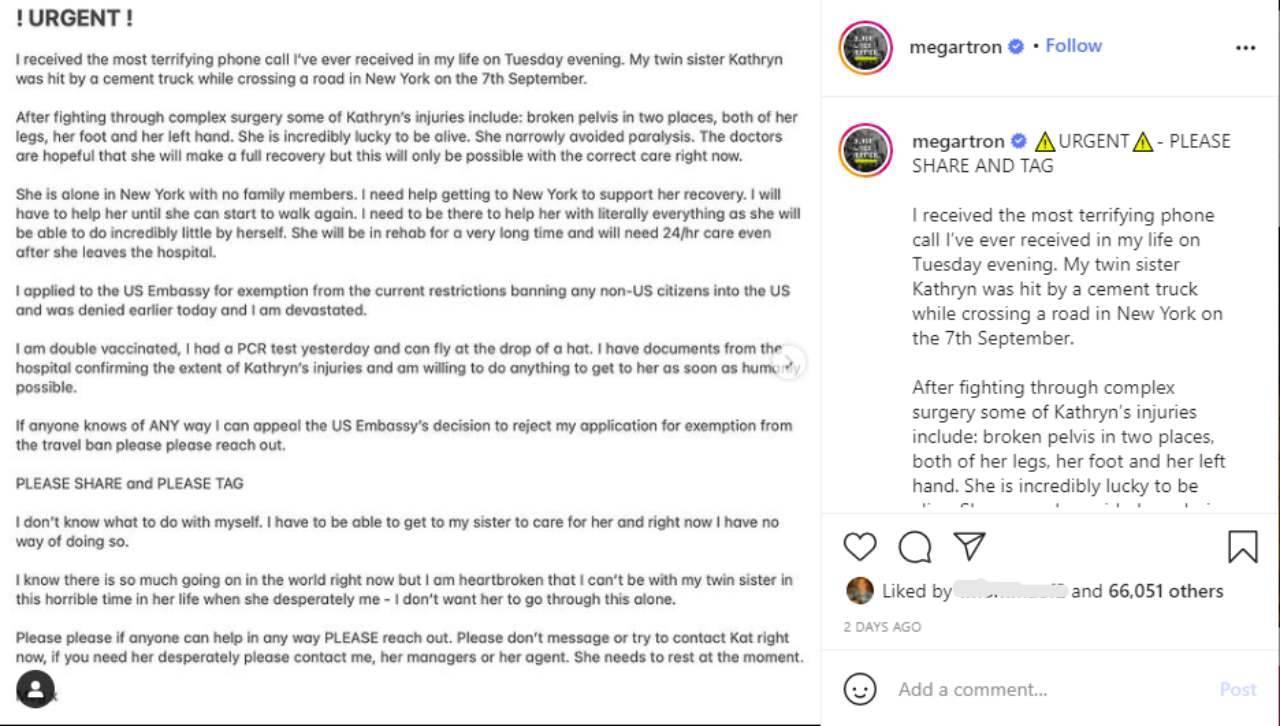 Il messaggio disperato della sorella di Kathryn Prescott, Megan (fonte: Instagram).