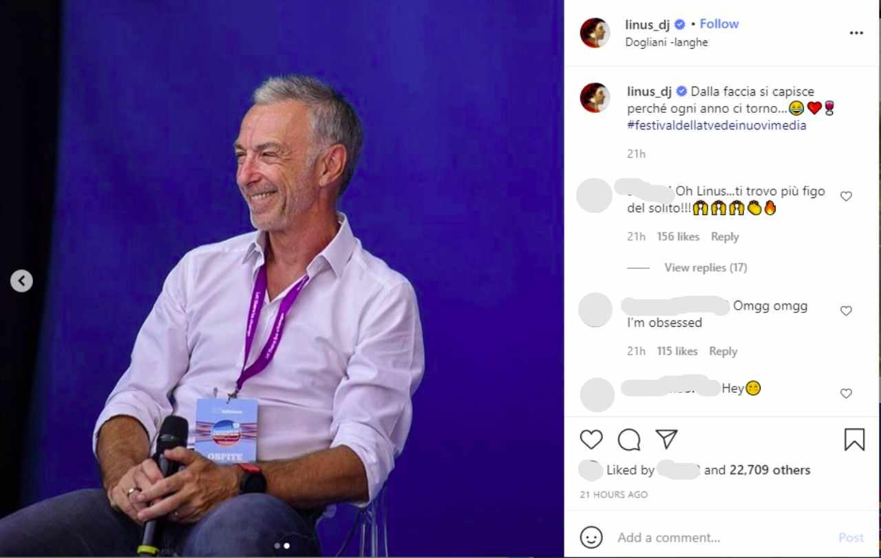 Il Deejay Linus commenta la sua esperienza al Festival della Tv e dei nuovi media di Dogliani, in Piemonte (fonte: Instagram).