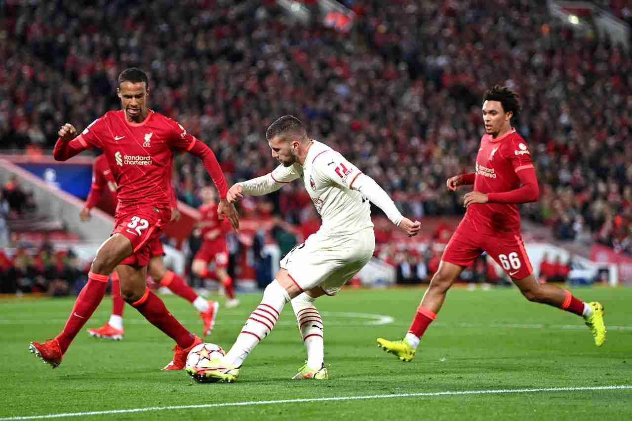 Liverpool-Milan: Ante Rebic guida la rimonta sugli avversari a fine primo tempo (foto Getty Images).
