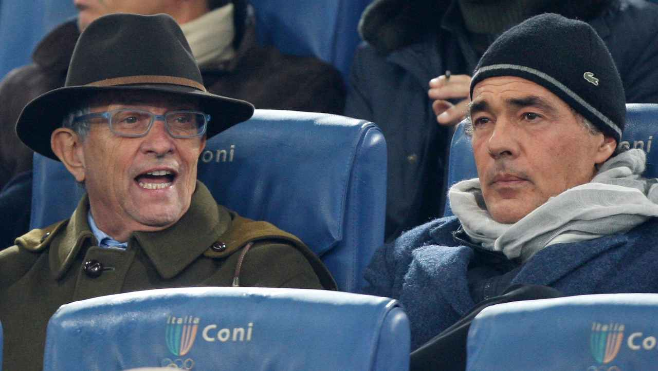 Serie A, Lazio Juventus: Massimo Giletti e Pierfrancesco Guarguaglini allo stadio, 26 novembre 2011 (foto di Paolo Bruno/Getty Images).