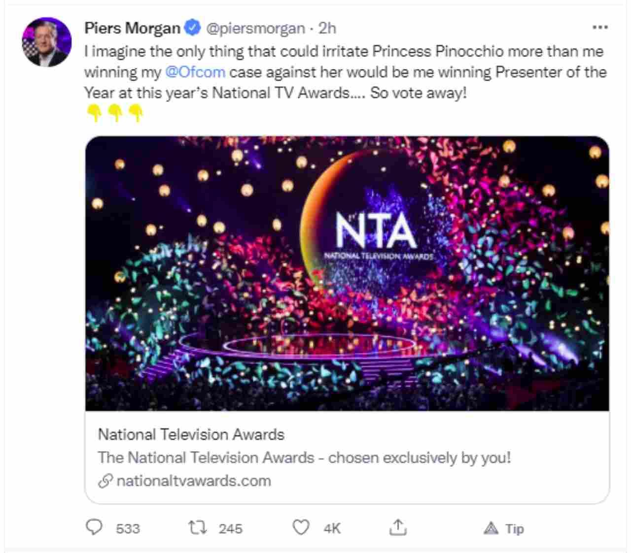Piers Morgan è raggiante su Twitter per la vittoria della causa contro Meghan Markle e Harry Windsor.