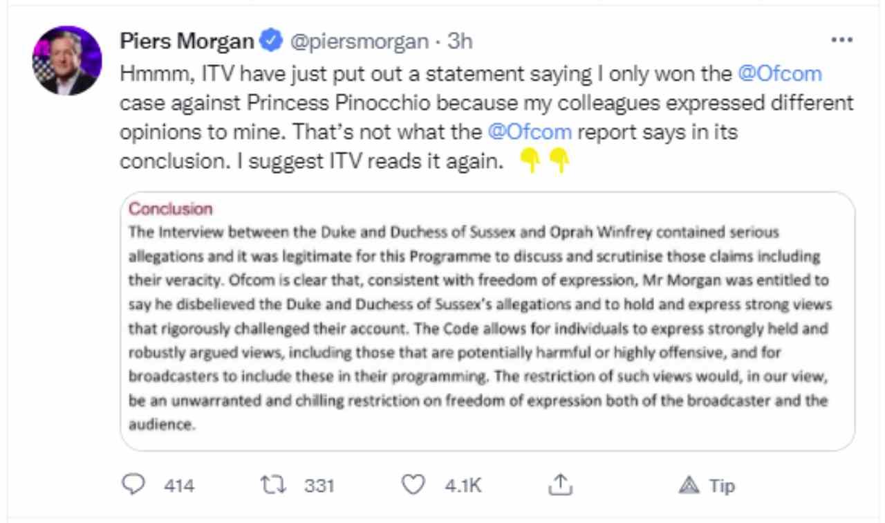 Uno dei messaggi pubblicati su Twitter da Piers Morgan.