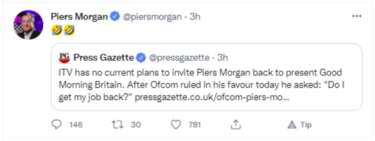 Piers Morgan ha vinto contro Harry Windsor e Meghan Markle (fonte: Twitter).
