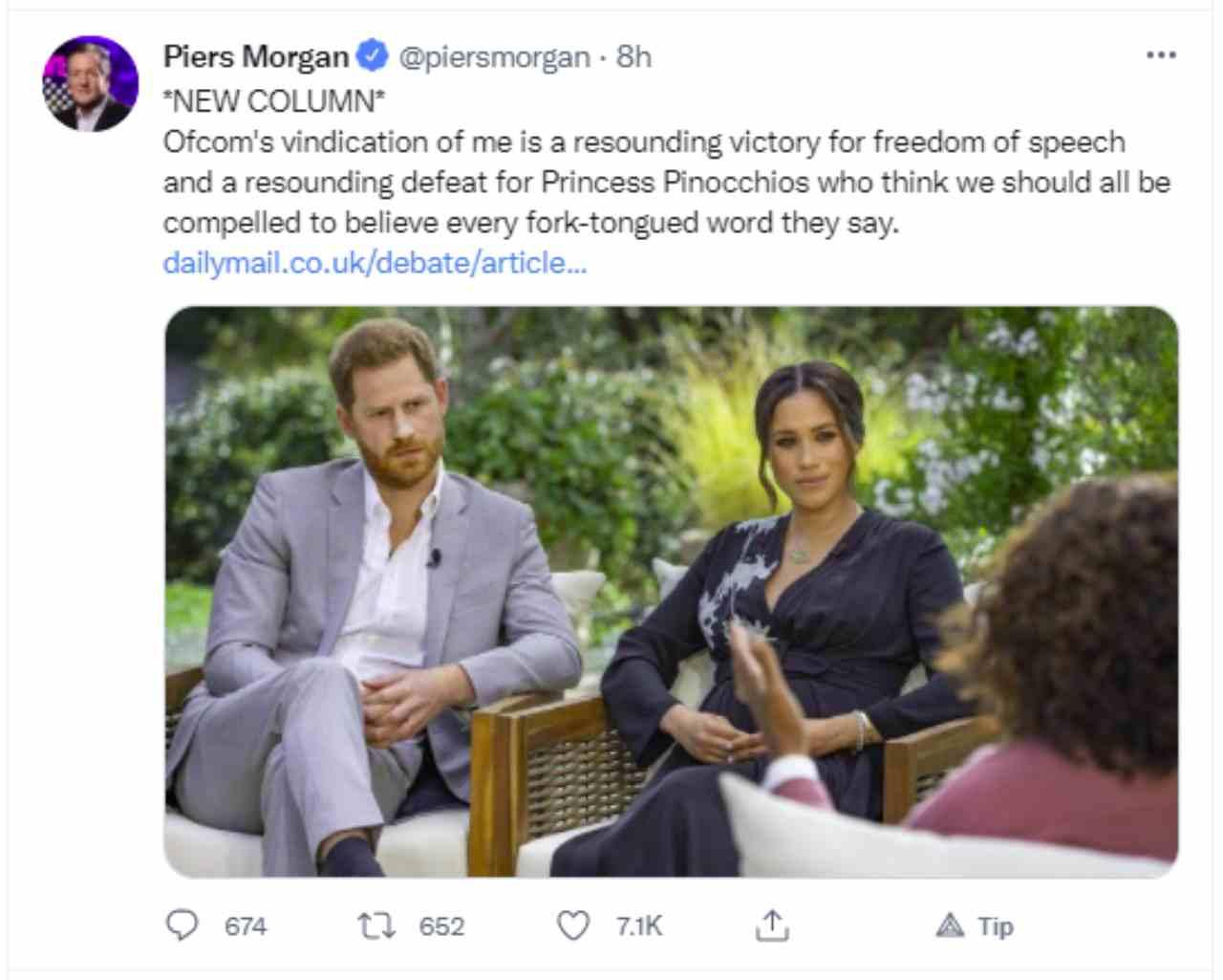 Piers Morgan ha perso il lavoro a causa dei suoi commenti sull'intervista di Meghan e Harry: sarà reintegrato? (fonte: Twitter).