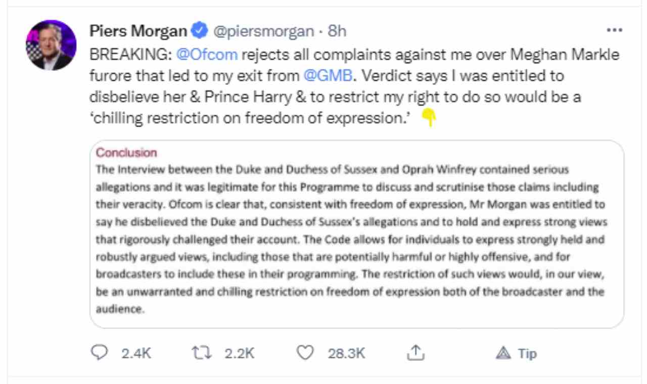 Ecco la spiegazione (in inglese) del perchè è importante la vittoria di Piers Morgan contro Meghan Markle e Harry Windsor per la libertà di espressione (fonte: Twitter).