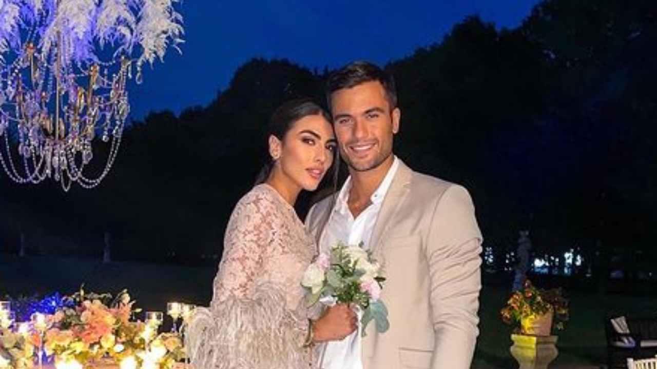 Pierpaolo Pretelli e Giulia Salemi al matrimonio della modella Catherine Poulain (foto Instagram).